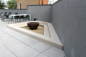 Concrete fire pit seating.
