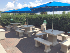 Concrete tables for employee break area.