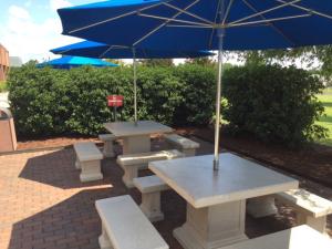 Concrete table for employee patio break area.