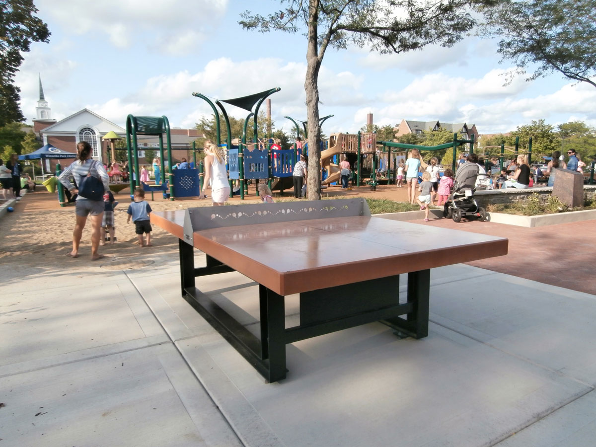 Concrete Ping Pong Table With Steel Base And Concrete