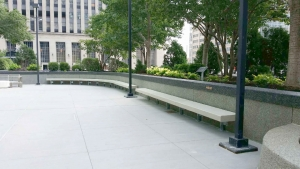 Concrete Bench with steel supports