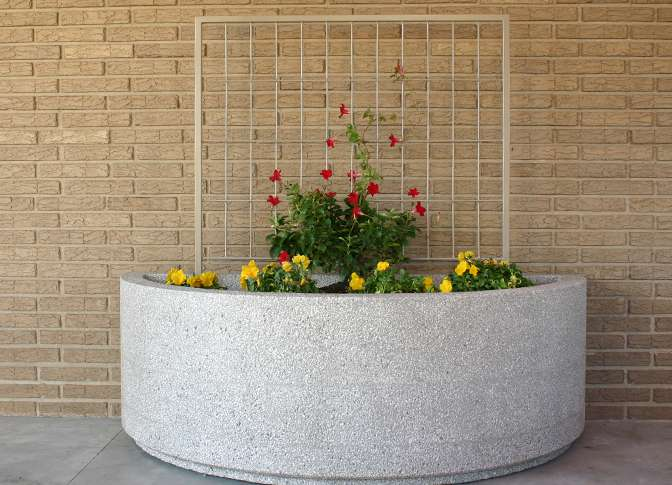 Half Round Planters Doty Concrete