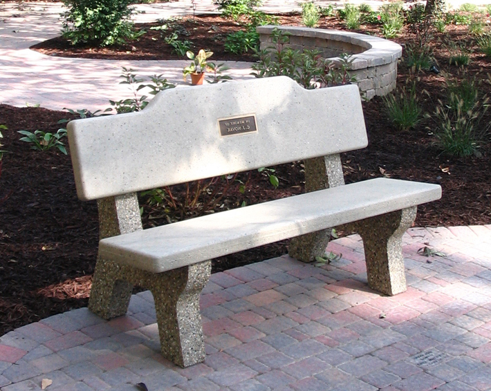 All Concrete Classic Memorial Bench W Plateau Back