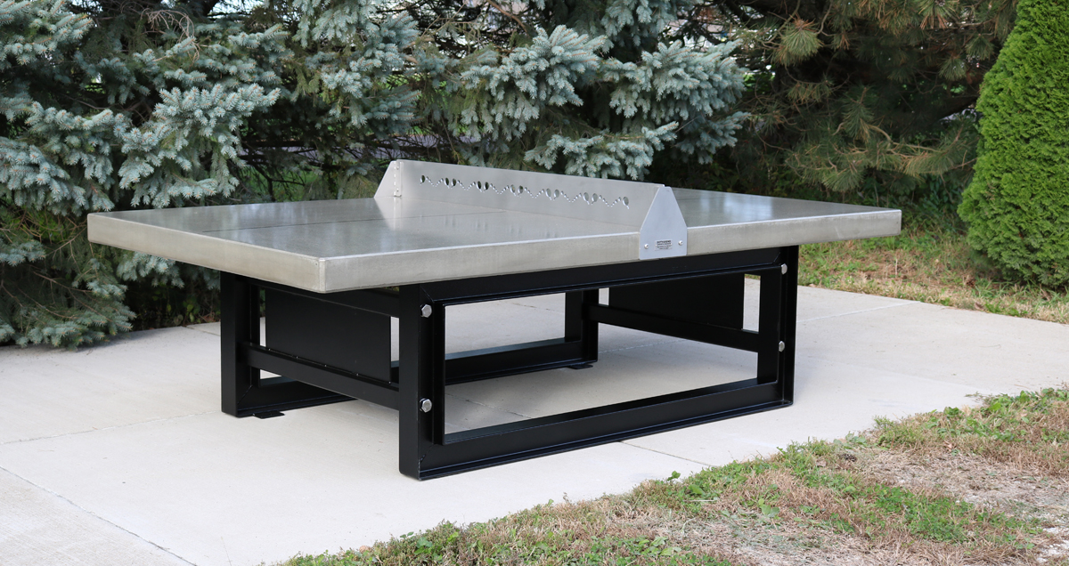 Outdoor Concrete Ping Pong Tennis Table With Steel Base