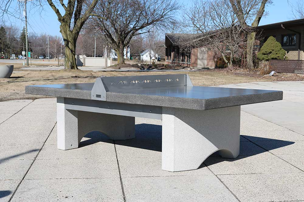 Concrete ping pong table with stainless steel net