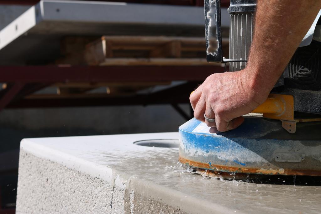 Concrete Polishing on concrete cornhole set